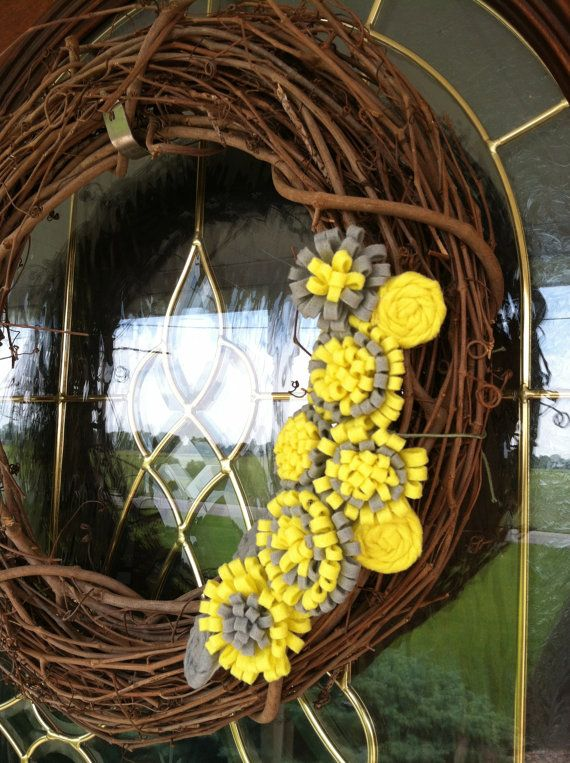 Yellow and Gray Removeable Wreath attachment on Etsy, $15.00