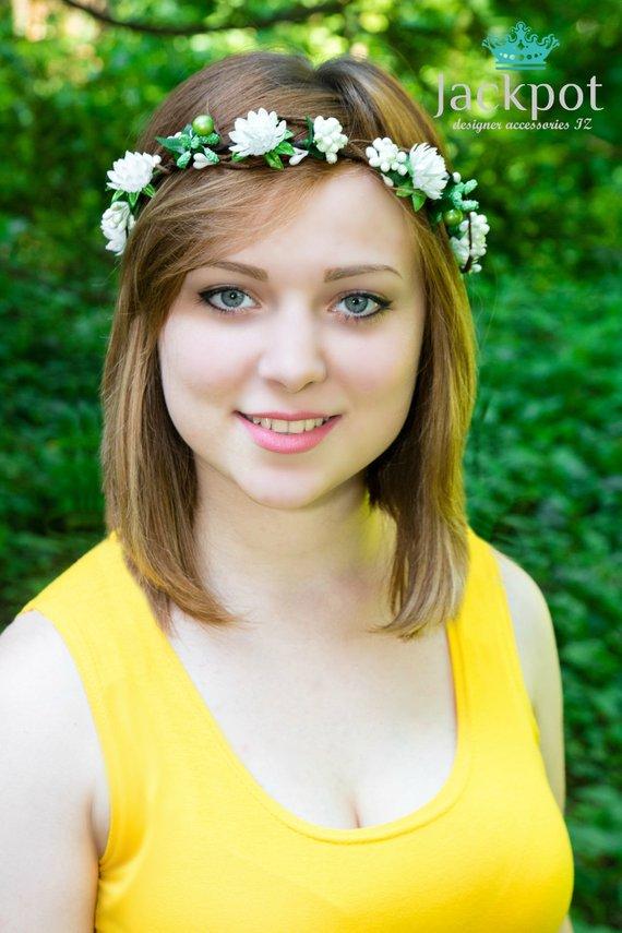 Ivory Green wreath headpiece Flower crown Bridal headband baby newborn  Maternity shoot Flower girl B 8bc5879146a