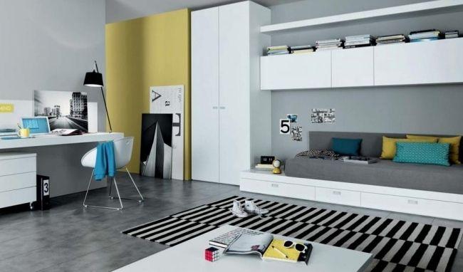 modernes jugendzimmer design weiß grau junge stauraum | Zimmer ...