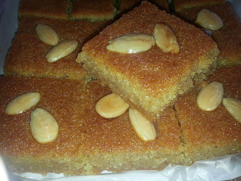 اسهل طريقة لعمل البسبوسة Recipe Middle Eastern Desserts Tasty Dishes Desserts
