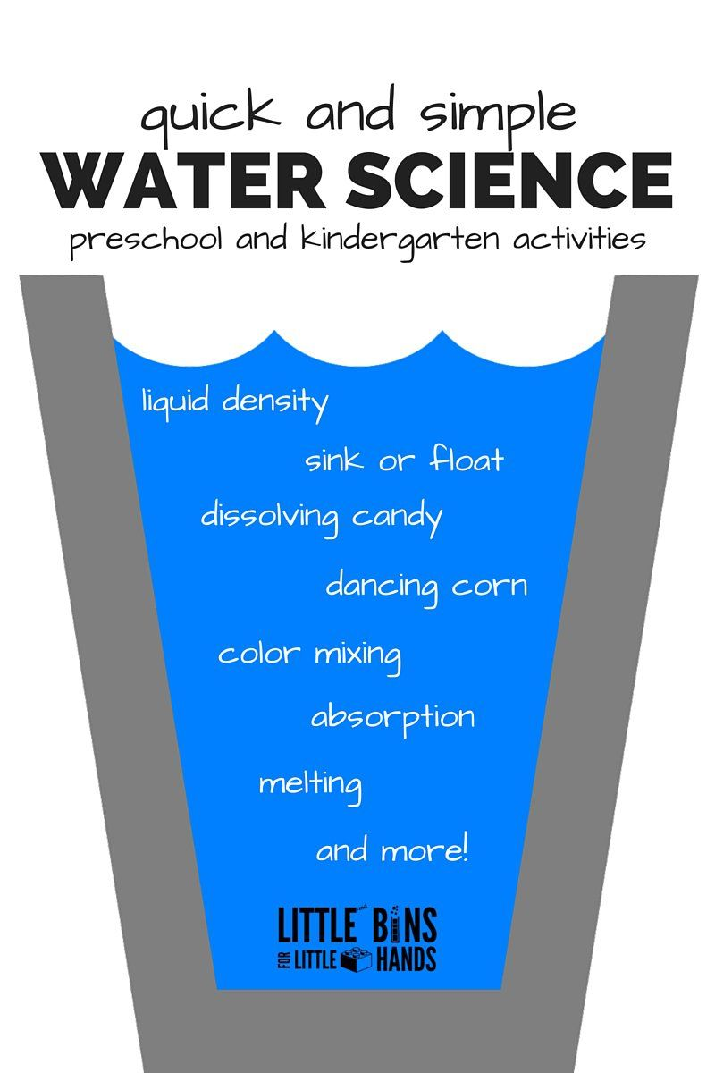 Quick Water Science Kindergarten and Preschool Activities