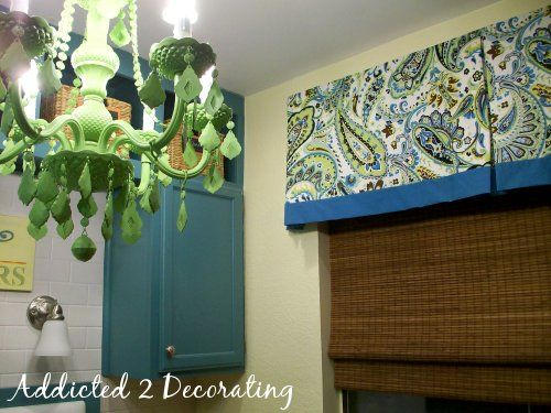 Lined Valance With Contrasting Fabric Band Box Pleat