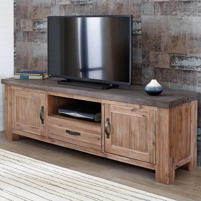 Harvey Acacia Tv Stand Tv Units Acacia And Concrete