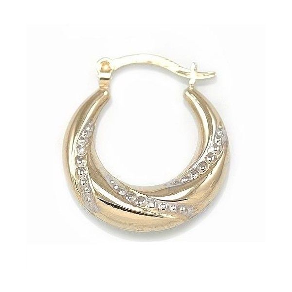 Genuine 10kt Gold Sterling Silver Puffed Hoop Earrings EBSE28 from