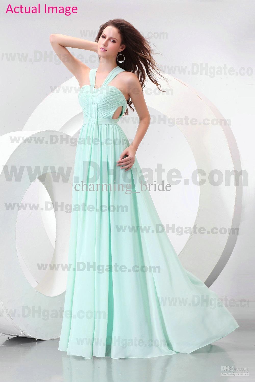 Cheap Mint Green Chiffon Floor Length Open Waist Bridesmaid Dresses ...