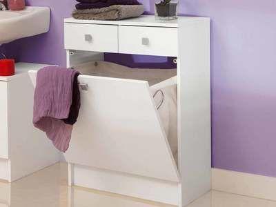 salle de bain avec tiroirs et bac à linge BANIO - meuble salle de bain panier a linge