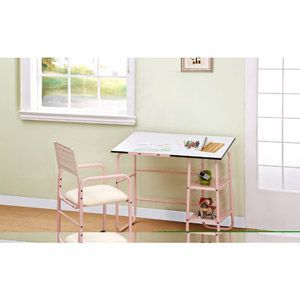 Powell Furniture Student Desk And Chair, Pink/White