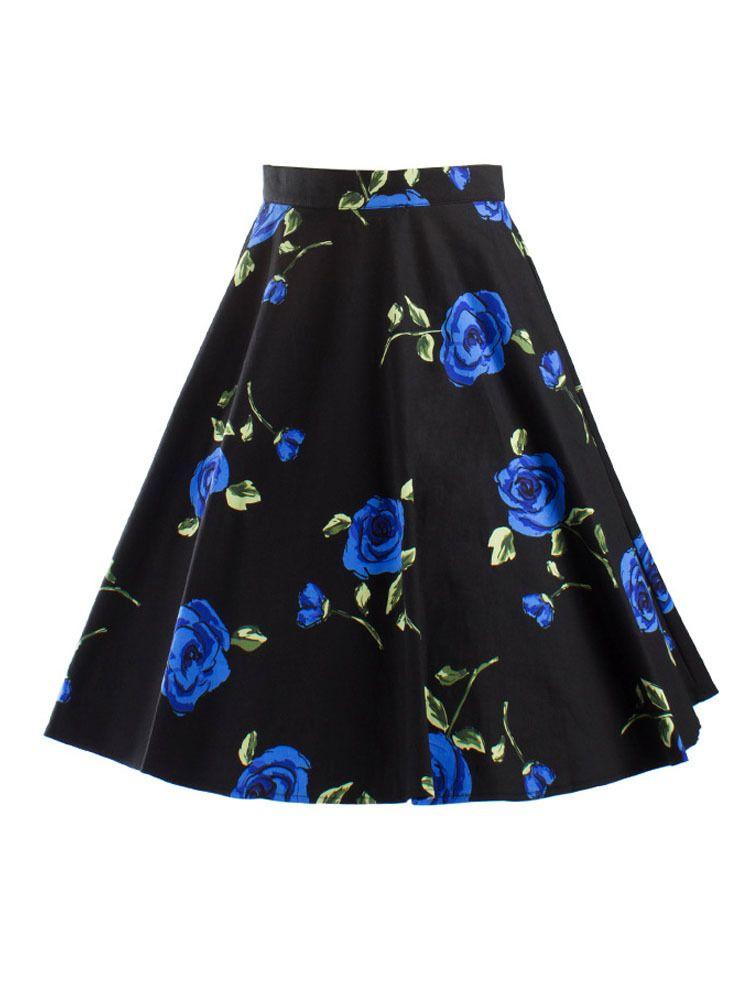 584bbcf49 Summer Style Vintage Floral Print Pleated Skater Skirt in 2019 ...