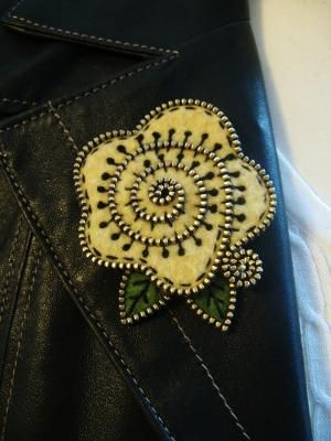 Pale yellow felt and zipper cabbage rose brooch by marcella