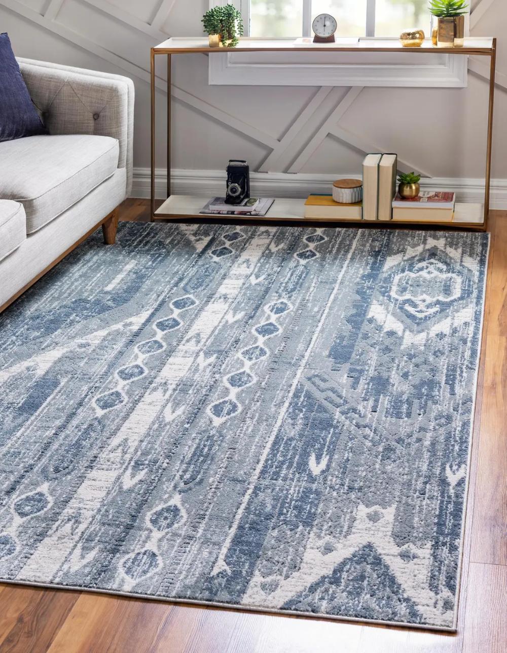 Blue Gray 6 X 9 Oregon Rug Esalerugs In 2020 Unique Loom Round Rug Living Room Area Rugs