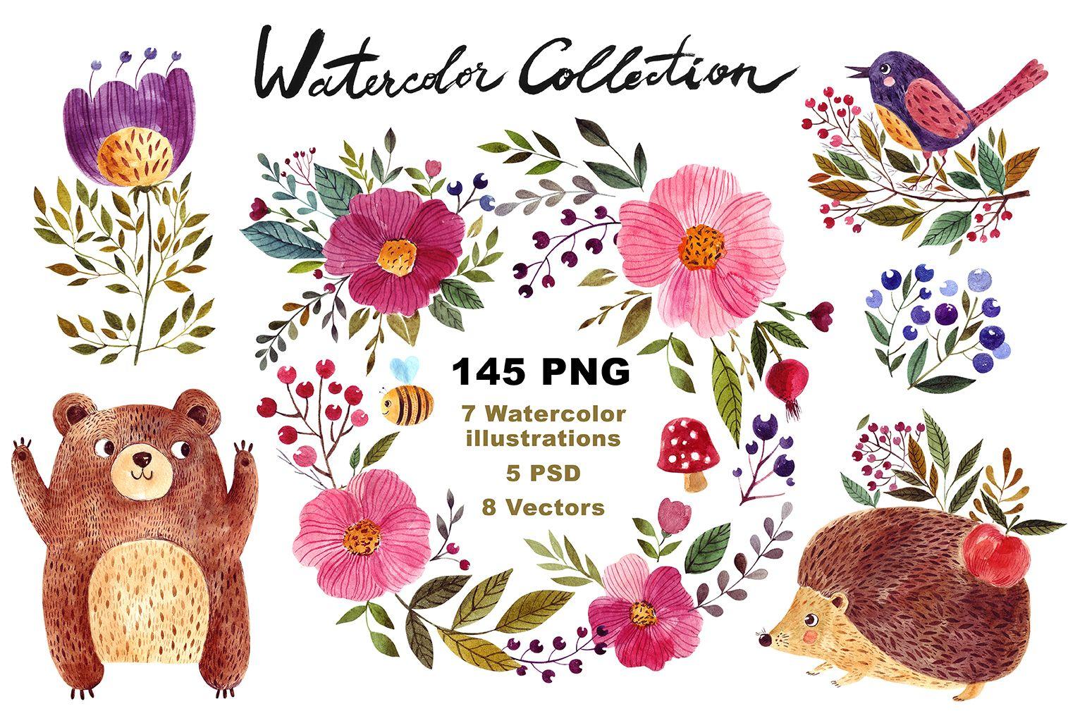 Big Watercolor Forest Collection #ad #design #photoshop #coreldraw #adobeillustrator #graphicdesign #logodesign #kids #nursery #babyshower #babyregistry #cricutmade #cricutexplore #cameo