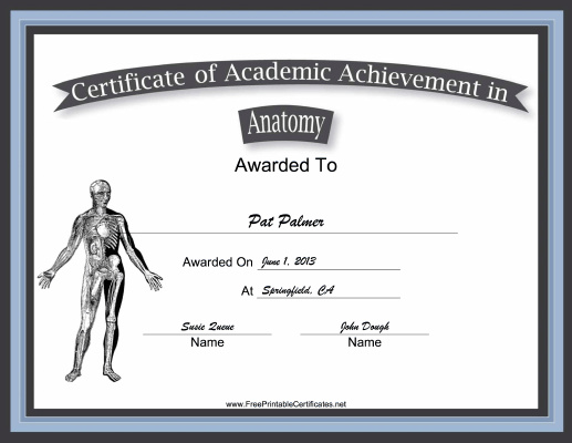 This free, printable certificate of academic achievement in anatomy ...