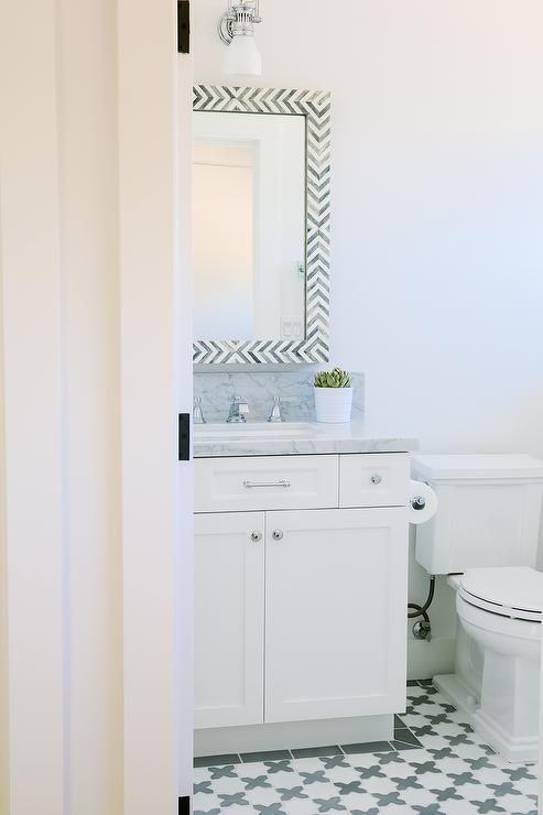 White And Gray Bathroom Features A West Elm Parsons Wall Mirror Amazing Bathroom Wall Mirrors Inspiration Design