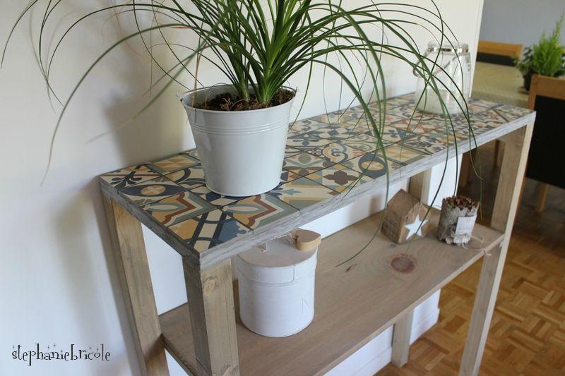 Diy Console Bois Et Carreaux De Ciment My Diy Pinterest