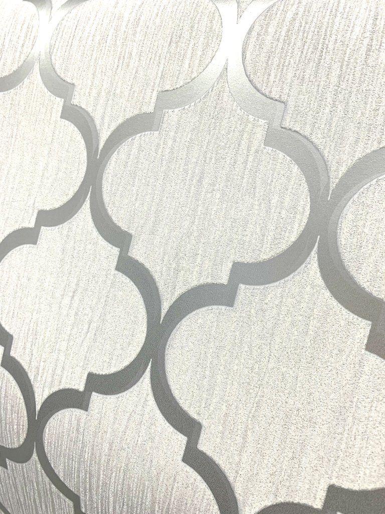 CRYSTAL TRELLIS GEOMETRIC WHITE SILVER SPARKLE GLITTER VINYL WALLPAPER DEBONA