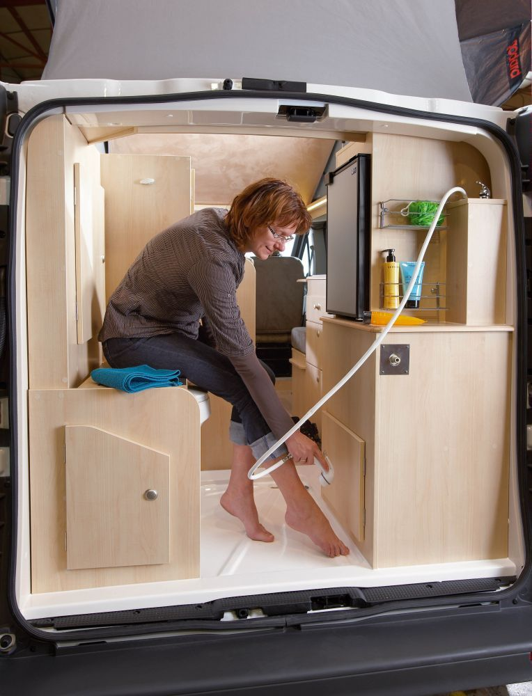 sit down shower in the back of a renault trafic camper