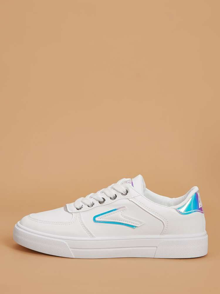 Holographic Detail Lace Up Front Sneakers Shein Sneakers Sole Sneakers Lace Up