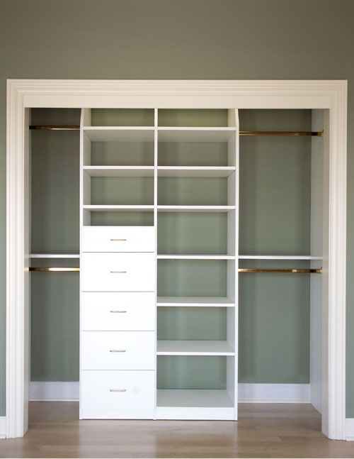 closet idea-can do this to existing closet with divider and a few drawers. Maybe…