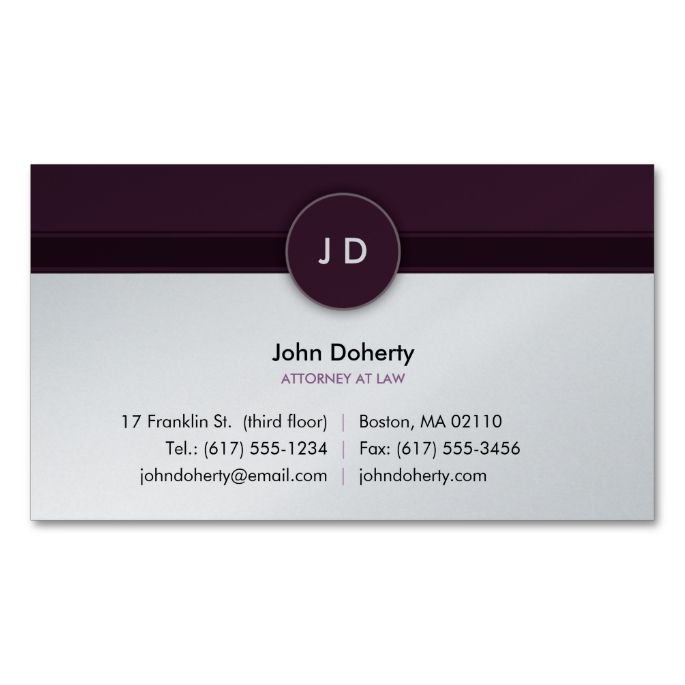 Monogram Attorney At Law Business Card Zazzle Com Lawyer Business Card Business Card Template Design Business Card Template