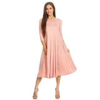 5bc39e7bc86 Moa Collection Women s A-Line Midi Dress (Dusty Rose - M) (spandex)