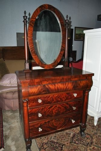 Fabulous Antique American Empire Mahogany Chest Dresser Swivel Mirror Ebay