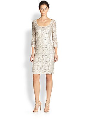 1fc00a1673c Kay Unger Beaded Lace Sheath Dress
