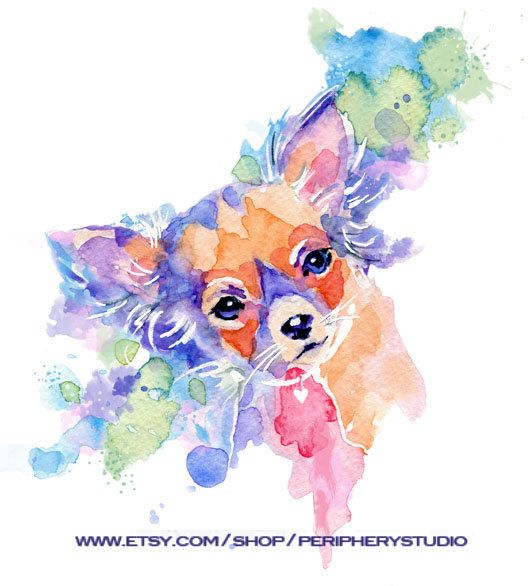 my first chihuahua watercolor painting 2011