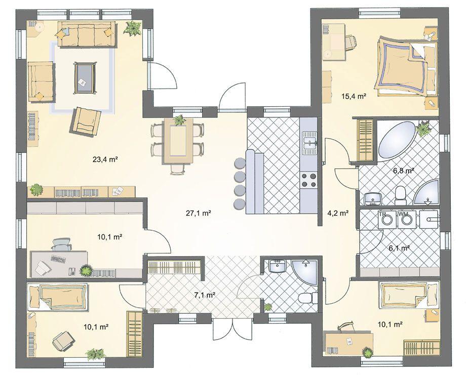 Grundriss bungalow 140 qm (mit Bildern) Grundriss bungalow