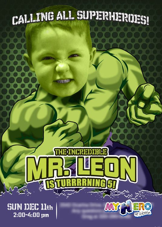 Turn Your Boy Into Hulk A Nice Sample Invitation Incredible Birthday Party The Gest Avenger Custom Photo