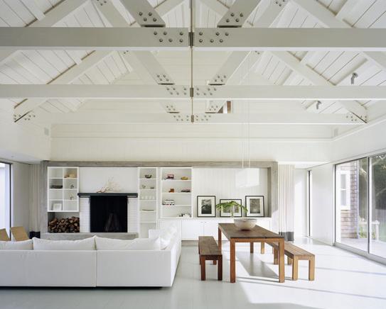 White Exposed Beam Ceiling Living Room Contemporary Modern