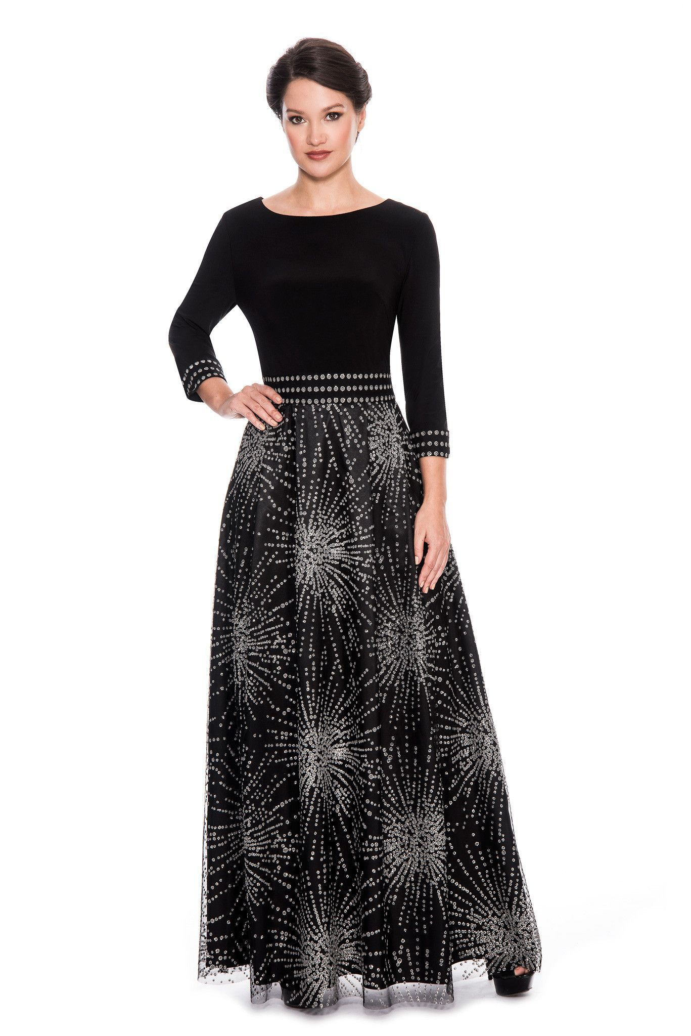 EMMA STREET ES9876 3/4 Sleeve Long Dress
