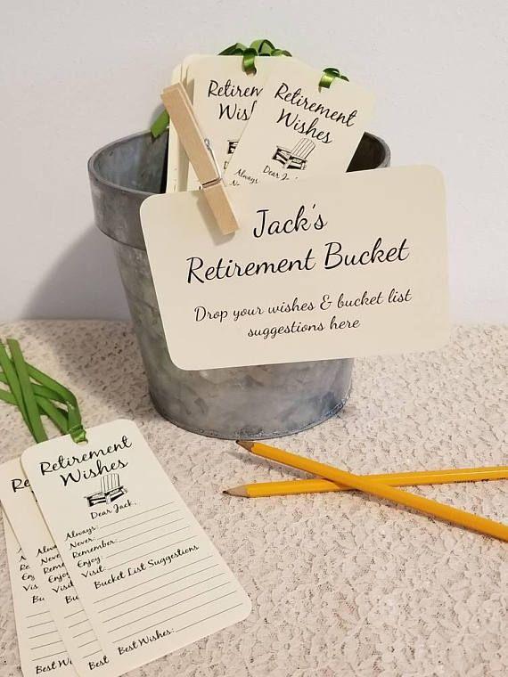 Retiret Bucket Sign for Retiret Party / Retiret Wish Tags ...