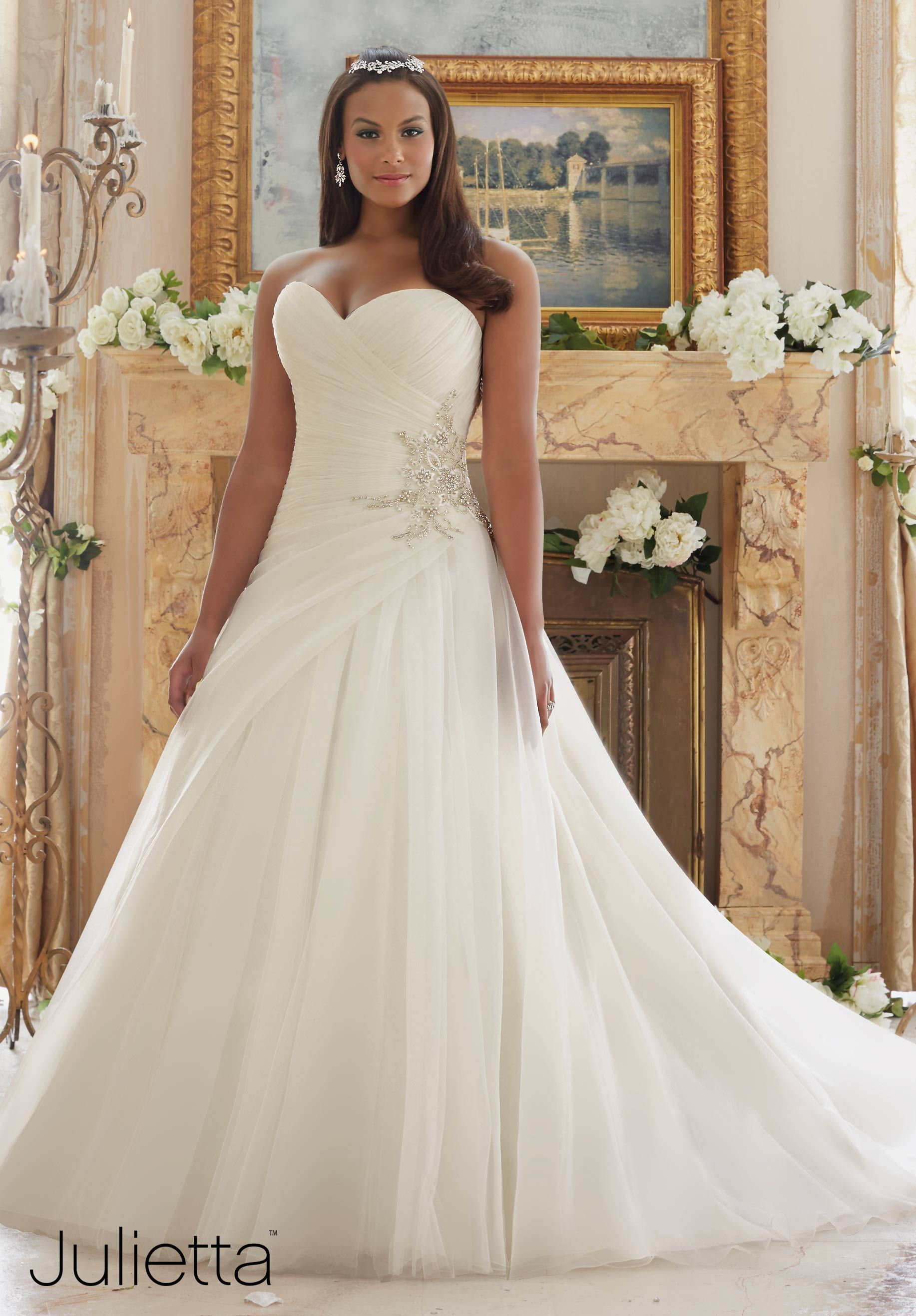 White and silver wedding dresses  Wedding Dresses By Julietta featuring Diamante Beaded Applique on