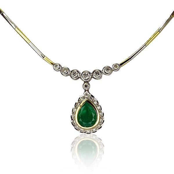 Schmuck diamanten  Smaragd-Diamant-Collier, Tropfen Smaragd 2,942 ct und 2,169 ct ...