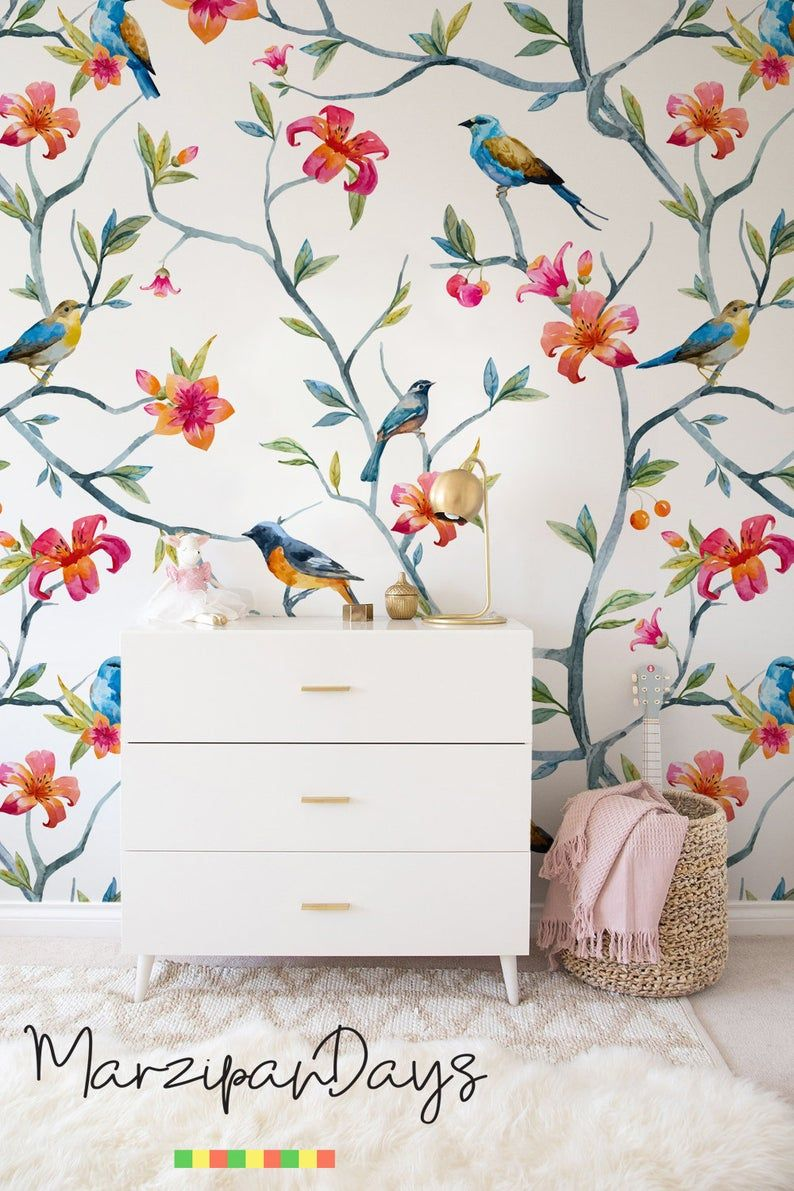 Birds On Branches Removable Wallpaper Wildlife Birds Etsy Removable Wallpaper Wall Decor Bird Wallpaper