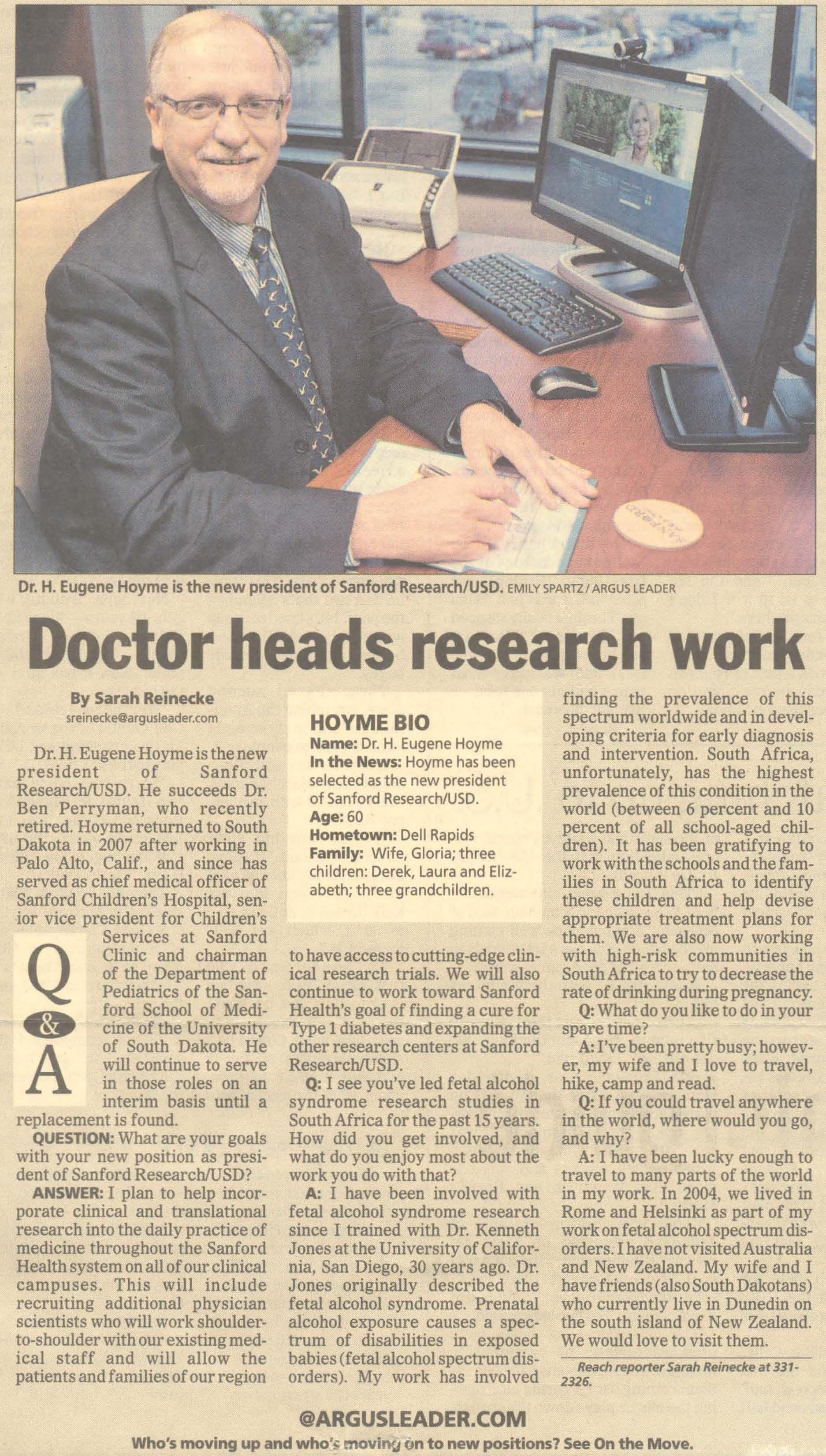 Dr Eugene Hoyme Became The President Of Sanford Research Usd