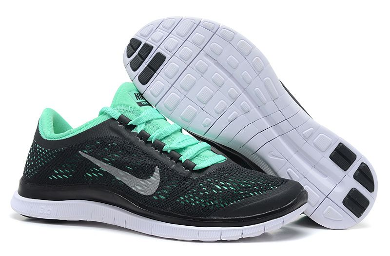 Nike Free 3.0 V5 Dark Charcoal Green Glow Summit White Womens Running Shoes