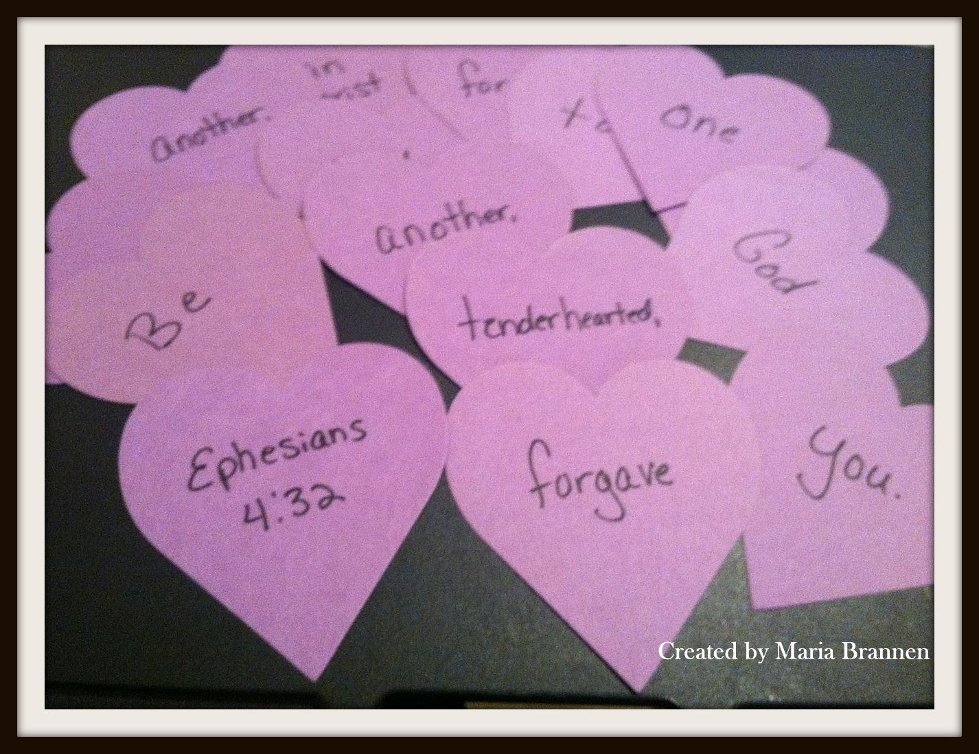 Ephesians 4:32 activity - Using heart-shapes, write one word per ...