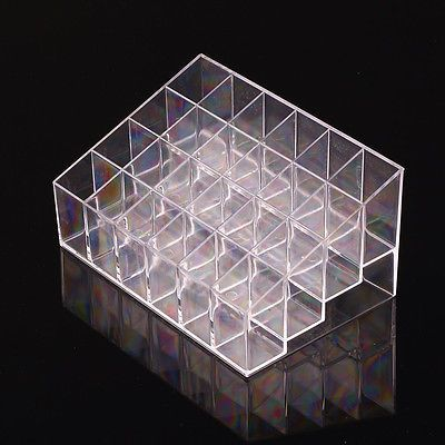 24 Trapezoid Clear Makeup Display Lipstick Stand Case Cosmetic Organizer Case AP