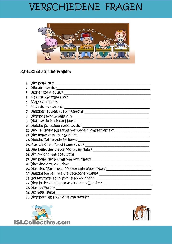 Verschiedene Fragen | german | Pinterest | Fragen, Schreiben ...