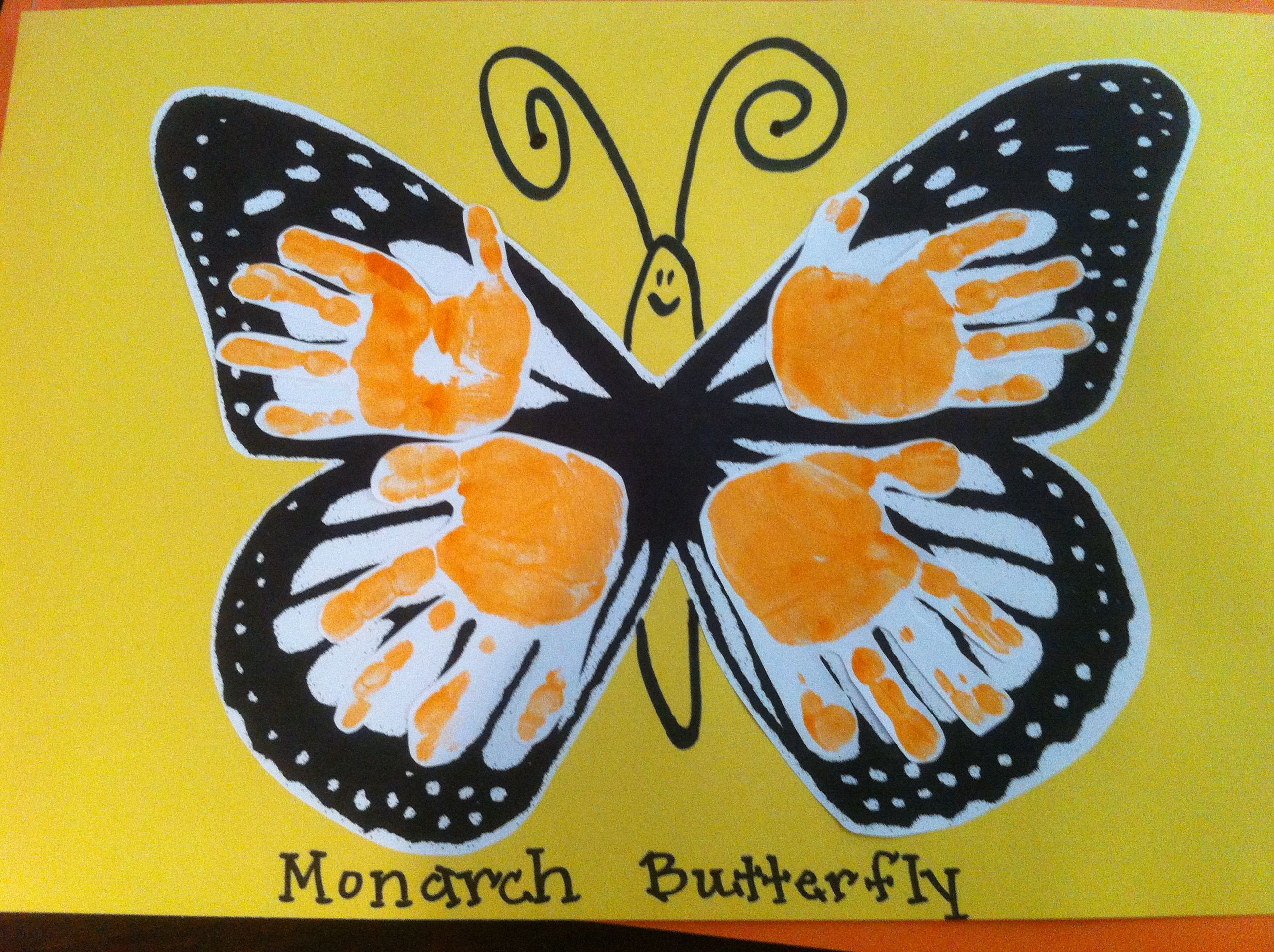 Monarch butterfly hand prints hand foot print art for Butterfly hands craft
