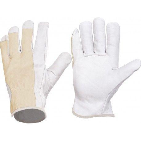 Guante con palma en piel y dorso en algodón. Referencia  G1501 Marca:  WorkTeam  Guante con palma en piel y dorso en algodón. Puño elástico. Color blanco.