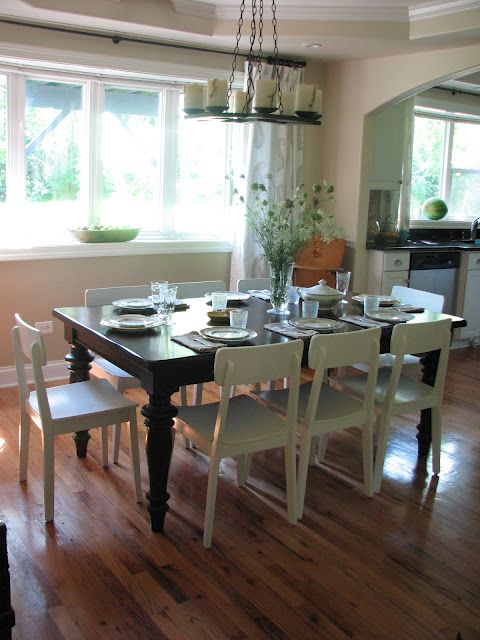 Dark Table Simple White Chairs Dining Table Chairs Painted