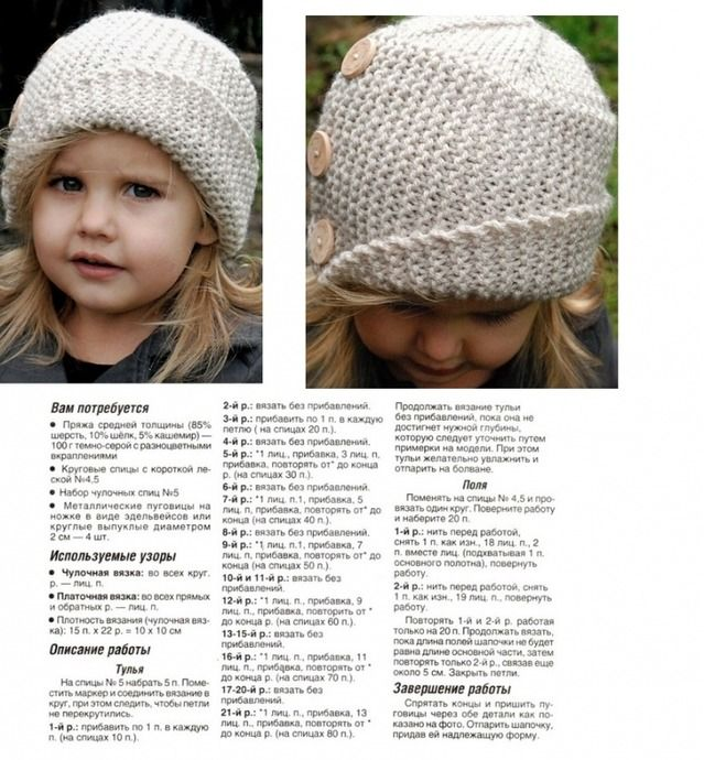 детские вязаные шапки для девочек спицами со схемами и описанием 26