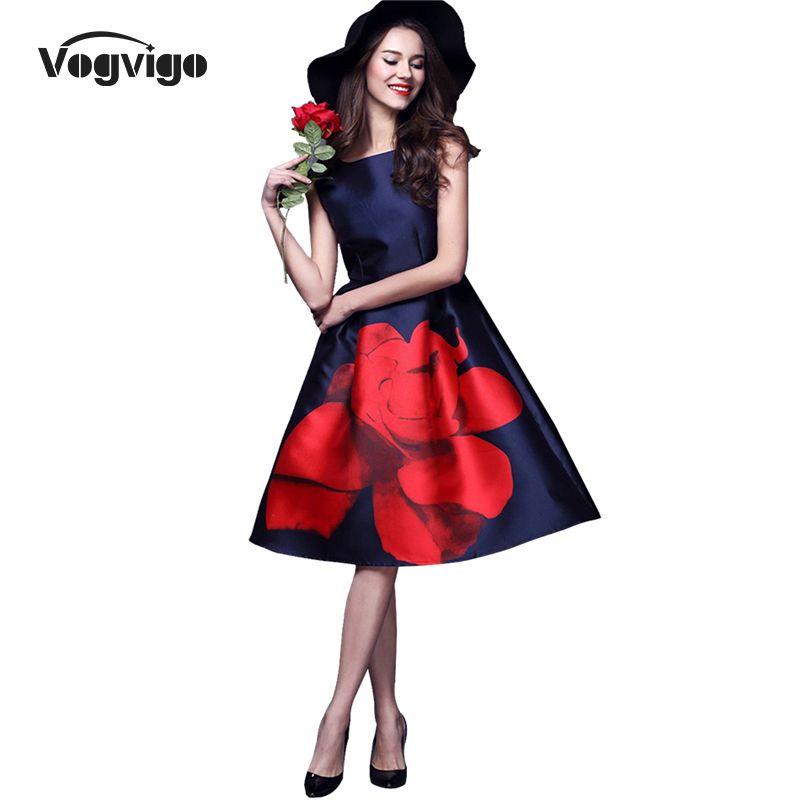 VOGVIGO 2017 New Summer Dress Women A-Line Elegant Dark Blue Cute Vestidos Ladies Elbise Tank Sleeve Printing Knee-length Dress