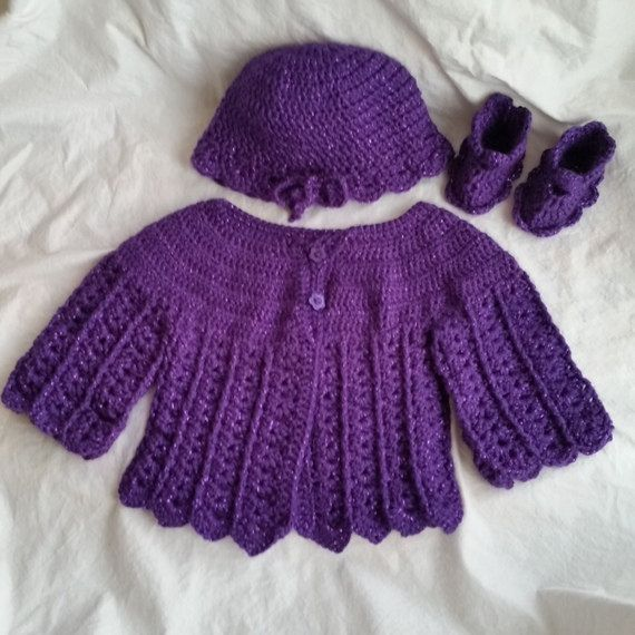 Baby Sweater Hat, 0 to 6 months, Crocheted Sparkly Purple Sweater ...
