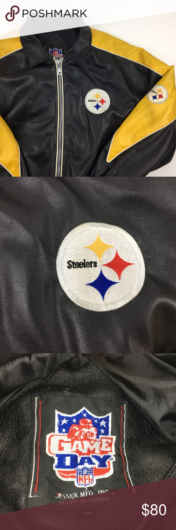 Pittsburgh Steelers Game Day Leather Zip Up Jacket Jackets