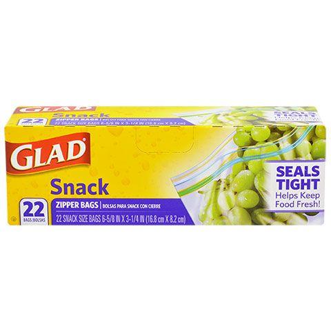 Glad Snack Size Zipper Storage Bags 22 Ct Bo