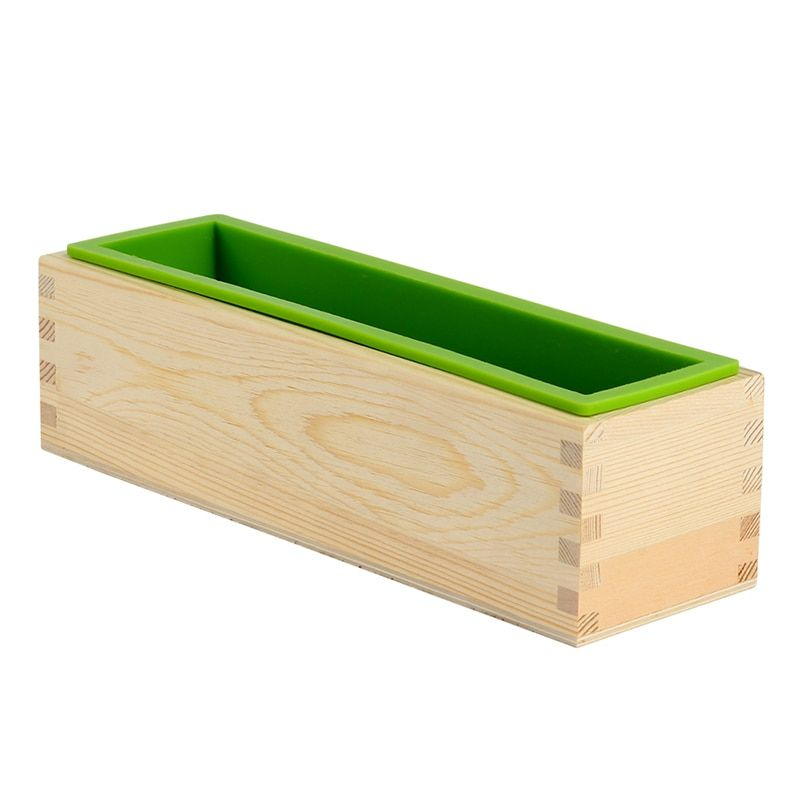 Nicole Silicone Soap Mold with Wood Box DIY Handmade Rectangular Loaf Mould