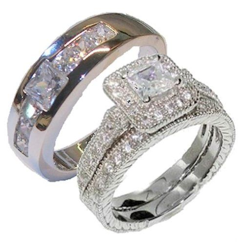 Edwin Earls His Her 3 Piece Wedding Engagement Ring Set White Gold Rhodium Ep Sterling Silver Womens 5 9 Mens 69 99